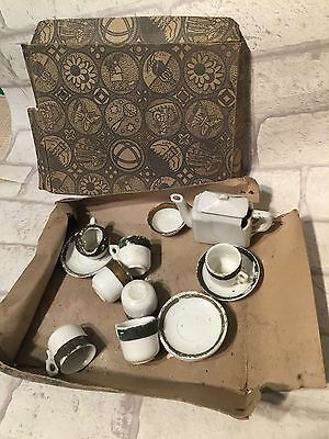 Early Antique Childs Toy Miniature China Tea Set