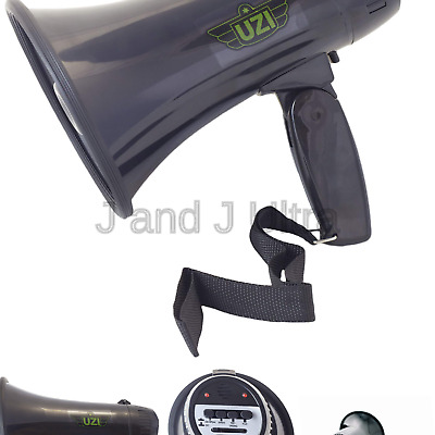 UZI UZI-MP-204R 15-Watt Megaphone with Siren Black Campco Adjustable Volume and Recording Playback