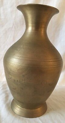Antique Handmade Brass Copper Jar engraved with flowers and leaves