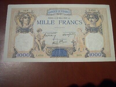 BILLET    1000 Francs ceres et mercure 1939