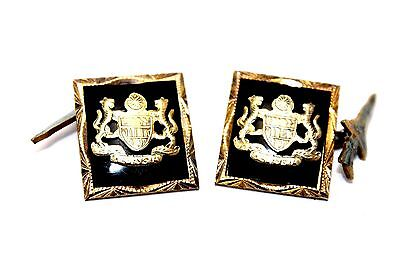Vintage Antique ORNATE Modernist MALAYSIA Crest Sterling Silver ONYX Cufflinks