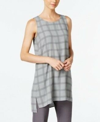 a2a66793df583 Eileen Fisher Ash Plaid Printed Silk Georgette Crepe Scoop Neck Tunic Sz PP  NWT