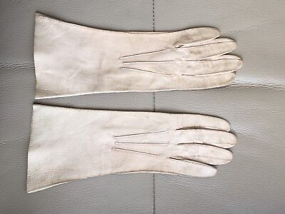 1940s Kid Gloves Ladies Vintage Retro German Zone Cream Leather Size 6