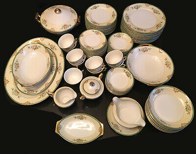 Meito Hand Painted 80 piece Dinnerware set for 9 + serving pieces made in Japan