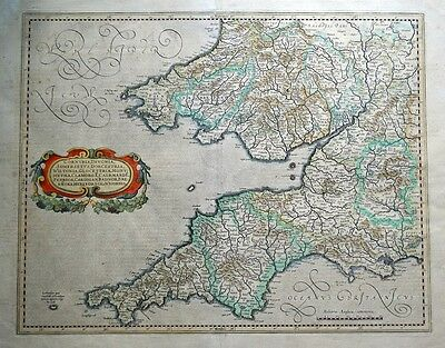S.W. ENGLAND, CORNWALL DEVON, SOMERSET, WILTSHIRE, G.MERCATOR, antique map c1635