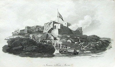 WEST AFRICA,GHANA, FORT JAMES,JAMESTOWN,ACCRA, Antique Aquatint  Print 1799