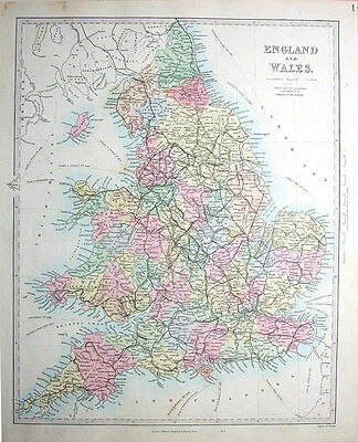 ENGLAND & WALES RAILWAYS,  SDUK Hand Coloured Antique Map 1857