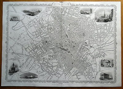 BIRMINGHAM, ENGLAND Street Plan RAPKIN & TALLIS  original antique map c1850