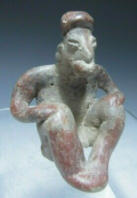 Pre Columbian West Mexico Jalisco Pottery Figure of a Seated man ca. 500 BC