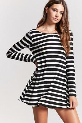 b195cf88f69f NWT HEART HIPS Forever 21 Striped High Neck Swing Flare Shift Knit Shirt  Dress S