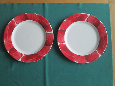Set Of 2  Portmeirion Botanic Garden Blooms Poppy Large  Dinner Plates New