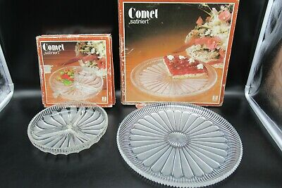 Vintage Comet Satiniert Glass tart plate Dish Plus 3 Compartiment dish Boxed