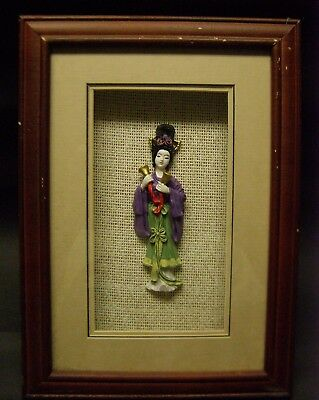 2 Chinese Ceramic Hand-Painted Female Musicians Mounted and Framed Pipa & Bells