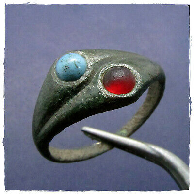 ** RED & BLUE STONES ** Ancient BRONZE Roman ring !!!