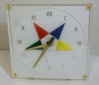 Masonic OES Eastern Star Vintage RARE Lucite Clock by MARION KAY New Old Stock
