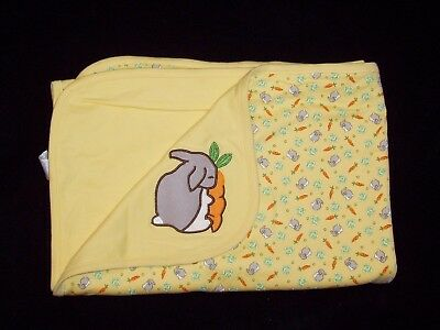 NWT Vintage Gymboree Yellow Bunny Carrot Lettuce Baby Blanket 2000