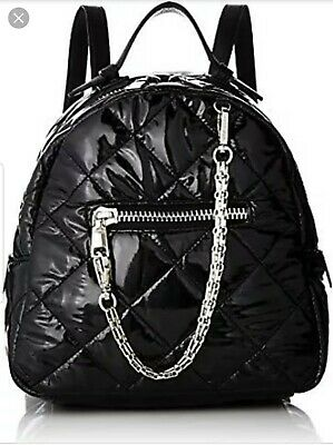 13e452f2e9 Steve Madden Mini Backpack Bag BJammin Quilted Faux Leather ZipTop BLACK NWT  $78