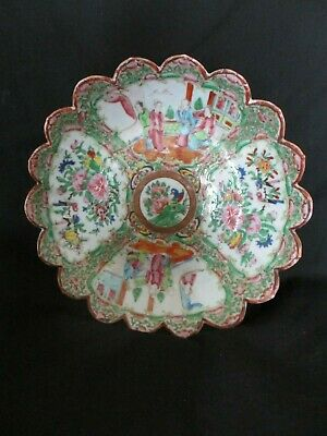 Antique ,19th century , Export Famille Rose scalloped Dish, wax seal mark ,c1860