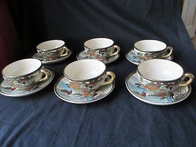 Japanese Satsuma,19Th Century Meiji Period 6 Cups & Saucers Good Condition