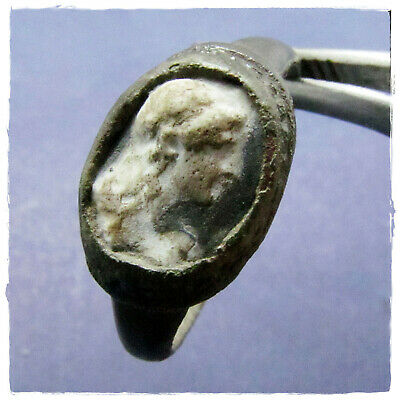 ** DOMITIA LONGINA  ** ancient BRONZE CAMEO Roman ring !!! RARE!!!