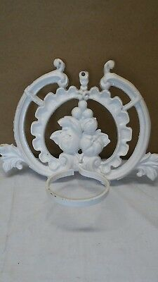 Antique  Cast Iron Sconce Candle Wall  Holder Home Decor White/Fruit  Metal VTG