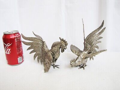 Vintage Chinese Silver Color Bronze Carve Rooster Statue