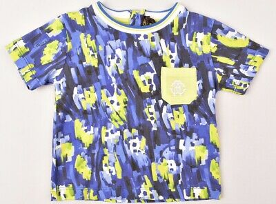 ROBERTO CAVALLI Baby Boys' T-shirt, Top, Blue/Green, size 12 months RRP £100