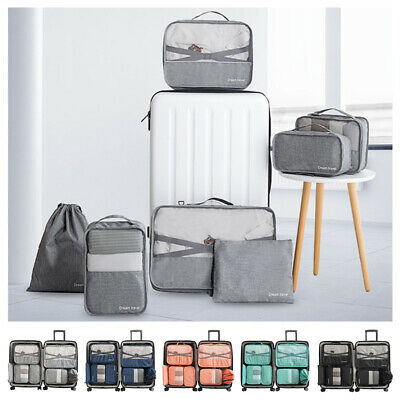7Pc Waterproof Travel Storage Bag Clothes Luggage Packing Cube Organizer Suitcas