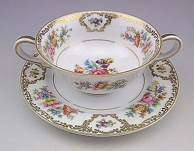 Noritake Japan Dresleigh 3935 Flowers Gold Bouillon Cup and Saucer