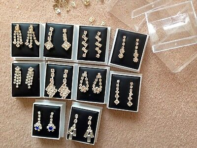 JOBLOT-10 pairs of crystal diamante DROP/pierced earrings.Gift boxed.UK made.