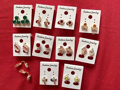 JOBLOT- 10 pairs of different styles crystal/colour CLIP ON earrings.UK made.