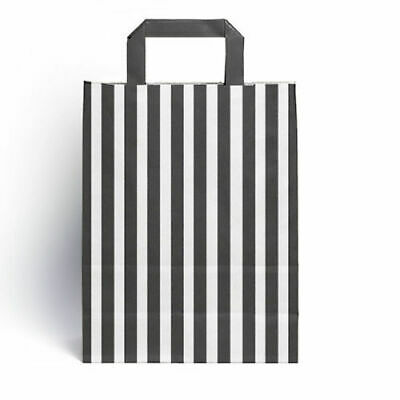 BLACK  Candy Stripe Flat Handle SOS Bags  Birthday Party Paper Gift Bag