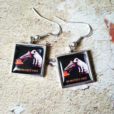 Unique HIS MASTERS VOICE EARRINGS retro GRAMOPHONE record HMV dog VINTAGE music