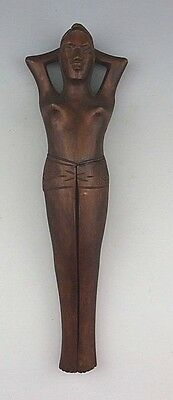 Vintage Wooden Hand Carved Female Nude Nutcracker