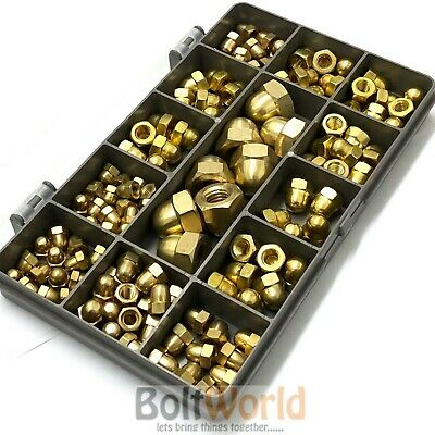 100 Assorted Piece Solid Brass M4 M5 M6 M8 M10 Dome Acorn Decorative Nuts Kit