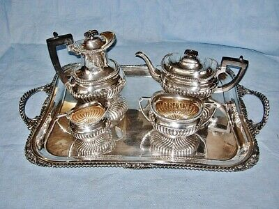 Antique stunning English silver plated 5 pcs Tea Set c.1890 by E.J. Fairbairns