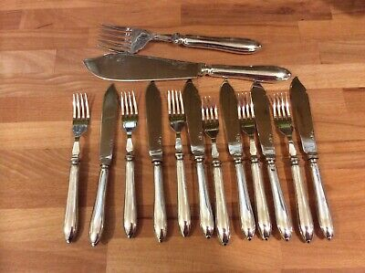 Superb Ornate Vintage Silver Plated Fish Knives and Forks and Servers.