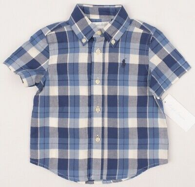 RALPH LAUREN Boys' Kids' Checked Short Sleeve Shirt, Blue, size 12 months
