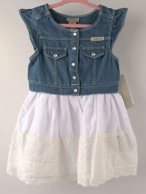 CALVIN KLEIN JEANS Baby Girls' Adorable Dress, Blue/White, sizes 2 3 4 years
