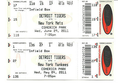 """2"" Detroit Tigers tickets. vs. YANKEES. 5/4/2011 & METS 6/29/2011."