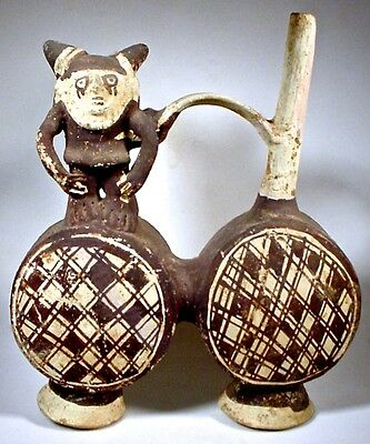 Pre-Columbian DOUBLE DRUM FIGURAL VESSEL CHANCAY PERU wCOA