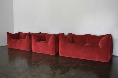 "Rare Mint B&B Italia ""Le Bambole"" 2 Sofa & Armchair Suite in Raspberry Red Ve..."