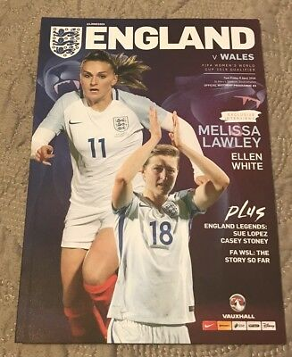 ENGLAND V WALES FIFA Women's World Cup 2019 Qualifier OFFICIAL PROGRAMME