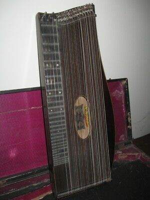 Antique Vintage German Handmade Concert Harp Zither with Case 19th Century !