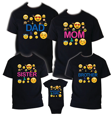 Emoji T Shirt Birthday Matching Party Reunion Celebration Family Kid OMG Face