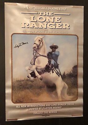 THE LONE RANGER Poster From 1989 AUTOGRAPHED By Clayton Moore RARE