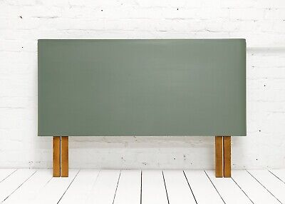 Beautiful Hand painted vintage Art Deco walnut Headboard double bed -green smoke