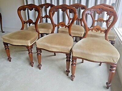 Set of 6 Victorian Vintage Antique Carved Dining Chairs - Excellent Condition