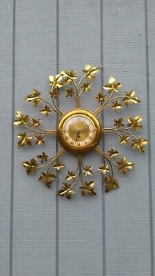Vintage United Wall Clock With Metal Gold Color Leaves (WORKING WITH KEY)