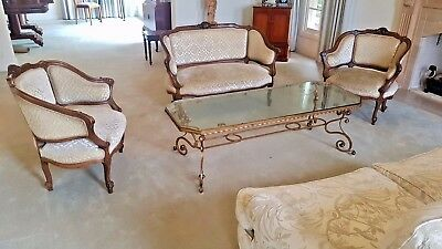 Louis XV French Provincial vintage style. Lounge Suite Settee & 2 Dining Chairs.